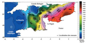 Répartition du tritium dans la Manche (campagne de mesures effectuée en 1994).
